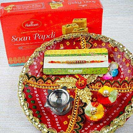Rakhi with Soan Papdi and Traditional Thali