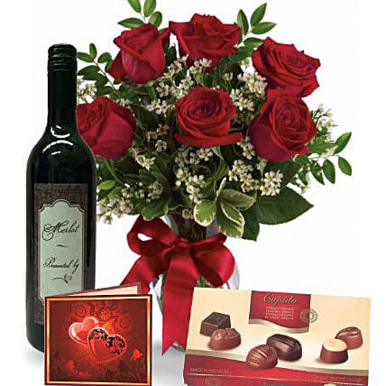 Roses Wine N Chocolate Combo