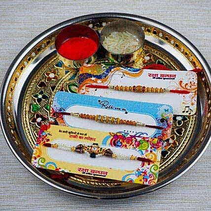 Three Family Rakhi Set with Puja Thali