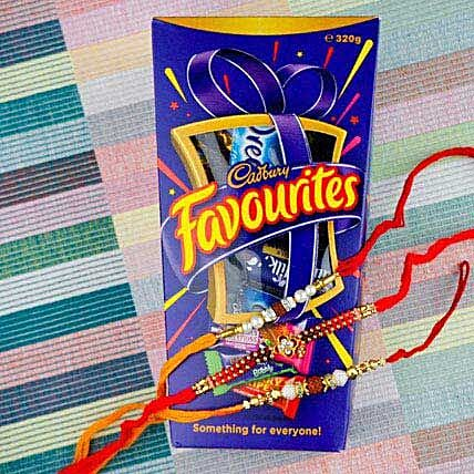 Three Hiro Rakhi Set With Cadbury Favourite