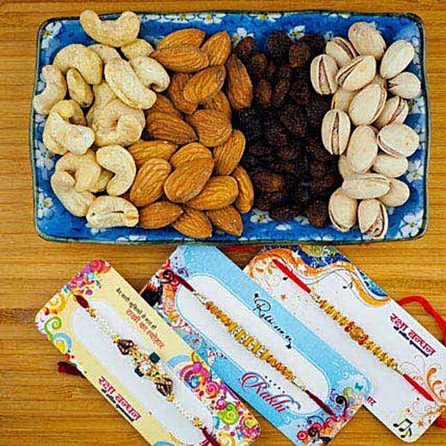 Three Rakhi Set With Dry Fruit