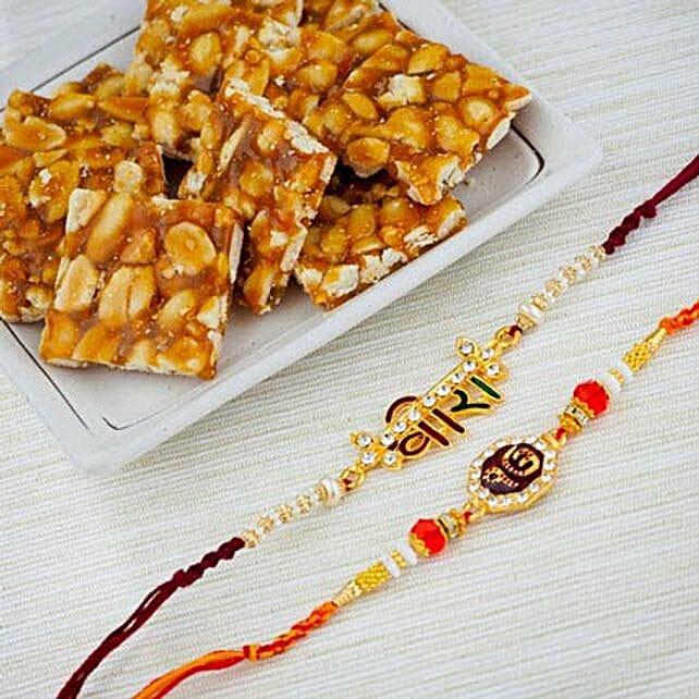 Two Raksha Bandhan Rakhi Set With Peanuts Chikki