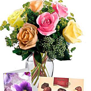 6 Mixed Roses Combo: Sending Chocolates to Australia