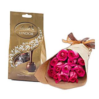 Dark Pink Roses N Chocolates: Sending Chocolates to Australia