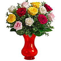 Dozen Assorted Roses: Send Anniversary Roses to Australia
