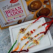 Great Brothers Four Rakhi Set With Besan Ladoo: Rakhi Delivery To Australia
