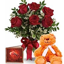Half Dozen Roses With Teddy: Rose Day Gift Delivery in Australia