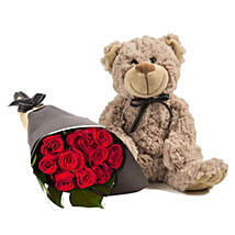 Lovely Red Roses With Brown Teddy: Anniversary Roses in Australia