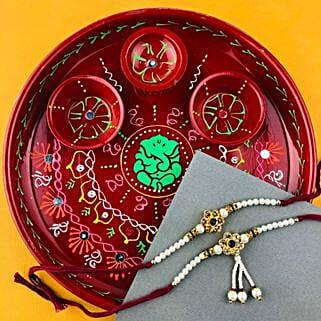 Pyar Bhara Rakhi with Traditional Thali: Send Rakhi to Adelaide