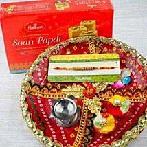 Rakhi with Soan Papdi and Traditional Thali: Send Rakhi to Sydney