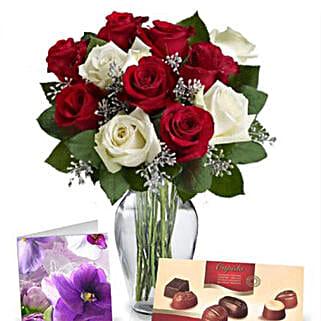 Red N White Roses With Chocolates: Sending Chocolates to Australia