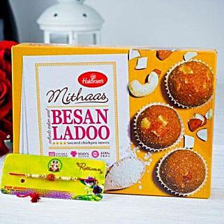 Rudrakhs Rakhi With Besan Ladoo: Rakhi to Adelaide