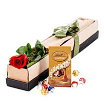 Single Stem Red Rose With Chocolate: Valentine's Day Chocolates to Australia