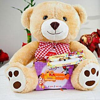 Super Hiro Two Rakhi with Teddy Bear: Send Rakhi to Australia