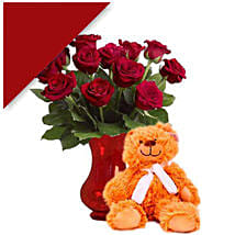 Teddy With Red Roses: Valentine's Day Gifts to Australia