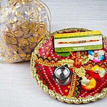 Thread Rakhi with Dry Fruits and Traditional Thali: Rakhi to Sydney