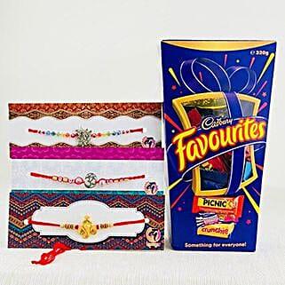Three Hiro Rakhi Set With Cadbury Favorite: