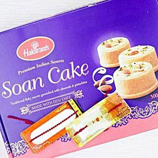 Two Rakhi With Desi Sweet Soan Cake: Send Rakhi to Adelaide