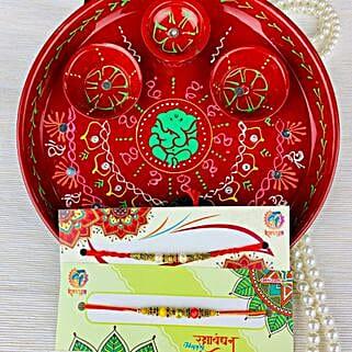 Two Rakhi with Traditional Thali: Rakhi Pooja Thali Australia