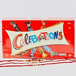 Veera Three Rakhi Set With Celebration Chocolate: Rakhi and Chocolates to Australia
