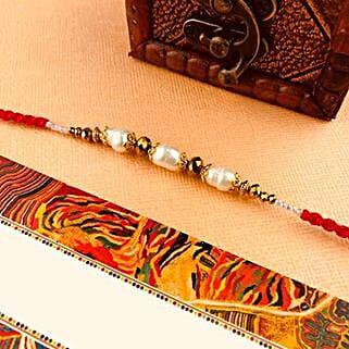 White Beads Rakhi: Send Rakhi to Adelaide