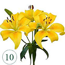 10 Blooms of Yellow Lilies BEH: Flower Delivery in Bahrain