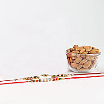 Colorful Rakhi Combo With Almonds: Send Rakhi With Dryfruits To Bahrain