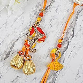Appealing Zardosi Lumba Rakhi Set: Rakhi Gifts to Bhutan