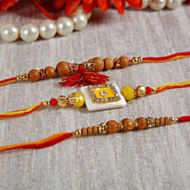 Yellow Stone Sandalwood Rakhi Set:
