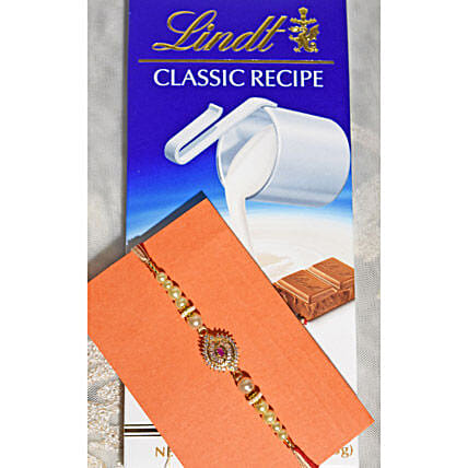 Beads String Rakhi N Lindt Chocolate