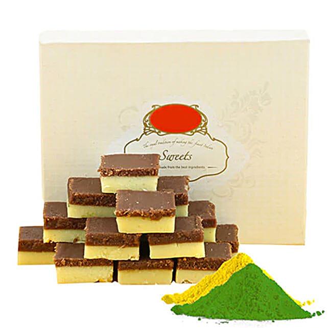 Chocolate Burfi With Gulal
