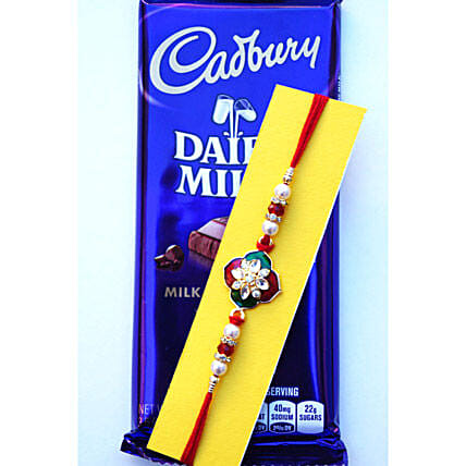 Chocolate with Floral beads Rakhi