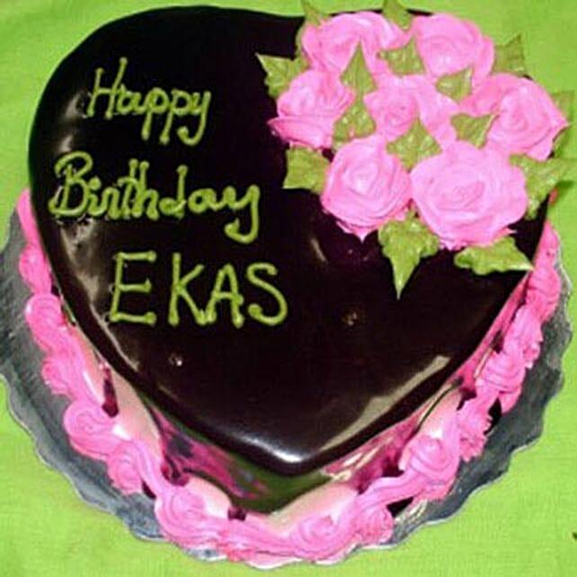 Eggless Heartshaped Chocolate Cake