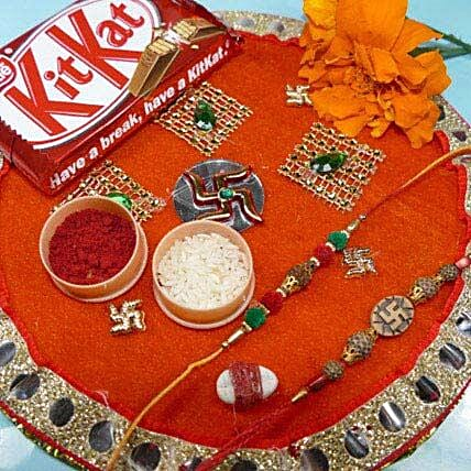 Rudrakha Rakhi Seet of two Thali with Kit Kat