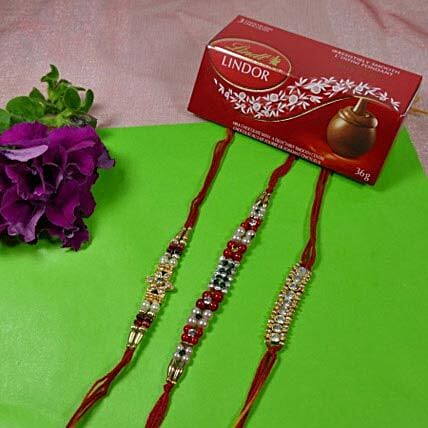 Trendy Rakhi Set Of Three With Lindt Lindor