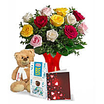 12 Mixed Roses N Teddy Combo: Birthday Flowers Delivery in Canada