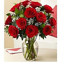 12 red roses with vase: Send Birthday Flowers to Canada