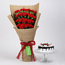 20 Red Carnations And Black Forest Cake: Flowers and Cakes in Canada