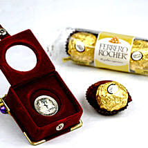 3 Ferrero Rocher And Silver Coin: Chocolate Gift Baskets in Canada