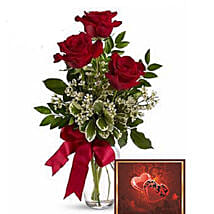 3 Red Roses With Greeting Card: Birthday Flowers Delivery in Canada