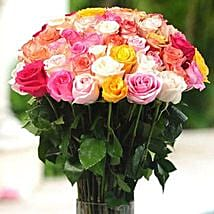 36 Multicolor roses in Vase: Thank You Flowers Canada