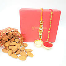 Almonds 100gms And 2 Fancy Rakhis Combo: Rakhi with Dryfruits to Canada