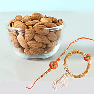 Bright Bhaiya Bhabhi Rakhi And Almonds Combo: Rakhi for Bhaiya Bhabhi to Canada