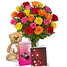 Chocolatey Teddy Mix: Birthday Flowers Delivery in Canada