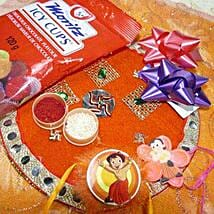 Chota Bheem Rakis Set Of Two Thali with Icy Cups: Send Rakhi and Chocolates to Canada