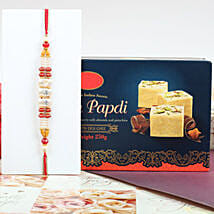 Colorful Rakhi With Soan Papdi: Rakhi with Sweets to Canada