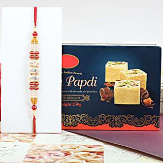 Colorful Rakhi With Soan Papdi:
