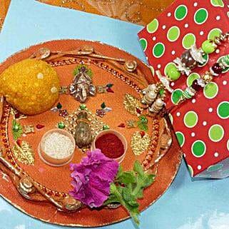 Creative Bhaiya Bhabhi Rakhi Thali With Boondi Laddu: Rakhi to Winnipeg