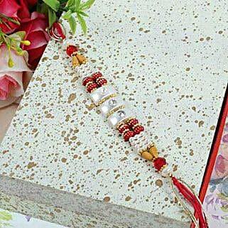Crystal N Beads Thread Rakhi: Send Rakhi to Winnipeg