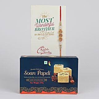 Dazzling Rakhi And Soan Papdi Combo: Rakhi with Sweets to Canada